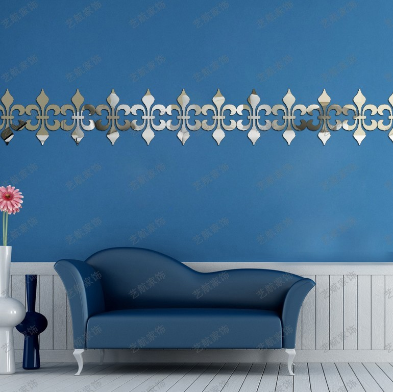 Customized Stickers On The Ceiling Waist Line Baseboard Acrylic Mirrored Decorative Mirror Wall DIY Stickers Muraux Home Decor