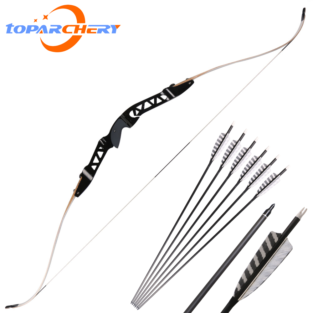ILF bow riser limb high quality archery bow set shooting hunting pure  carbon arrows stoving varnish limbs black handle arm guard-in Bow & Arrow  from