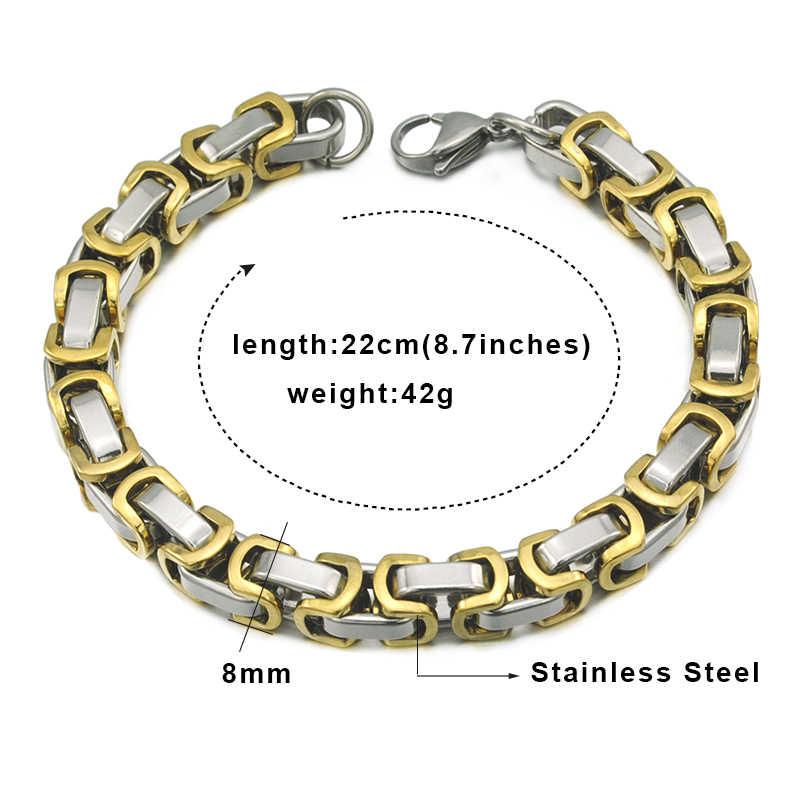 Gokadima męska bransoletki bizantyjski łańcucha 8mm 22 cm na rękę złoty kolor bransoletka ze stali nierdzewnej dla Man Rock/ biżuteria punkowa WB185