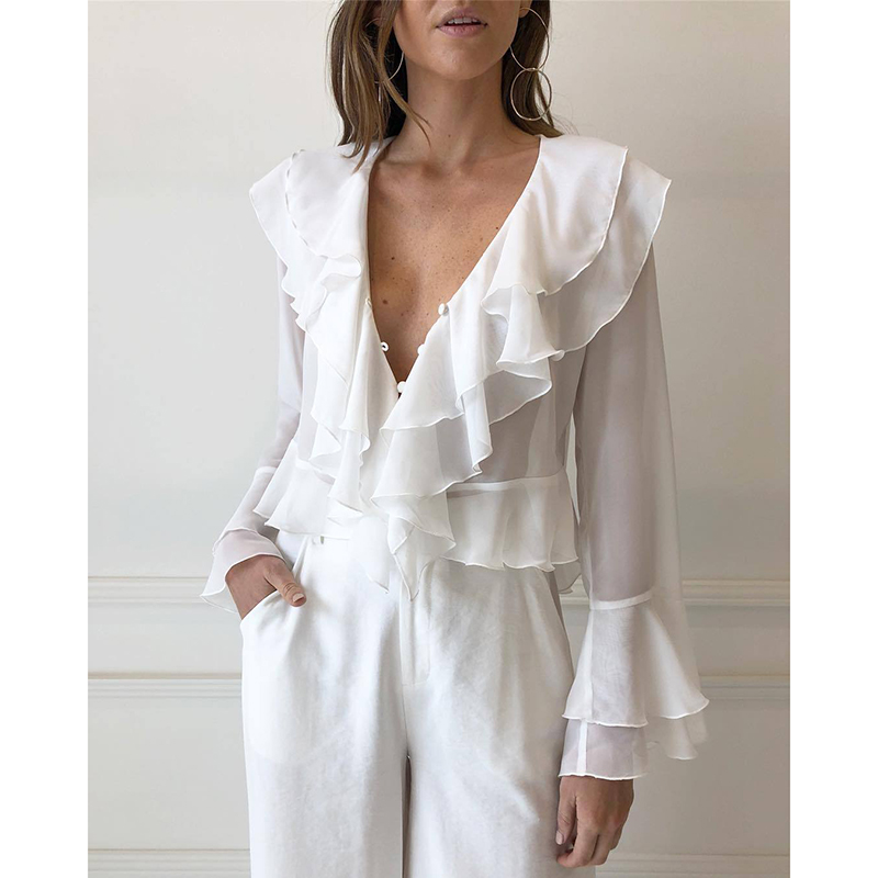 Women   Blouses     Shirts   Elegant White V Neck Flare Sleeves OL Style Ruffles 2018 Autumn Female Blusa   Shirt   Top WS9545k