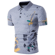 Splash floral leisure males's quick sleeve new printing high-quality cotton polo shirt matches completely