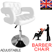 Shellhard White Adjustable Barber Chair Quilted Leather Barber Chair Styling Salon Chair Beauty Equipment