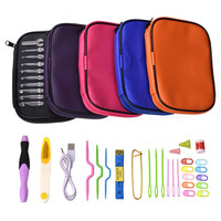 Rechargeable Lighted Crochet Hook Kit LED Lighting Knitting Needles 9 Sizes Hooks Replaceable Top Hook Sewing Tools with Bag