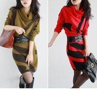Yellow Red Grey S XXL 2014 New Winter Plus Size Geometric Print Knitted Sweater Dress Tricotado
