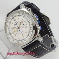 44 мм parnis белый циферблат Кристалл хронограф 2018 Элитный бренд часы Военная Униформа часы для мужчин в кварцевый механизм механические часы