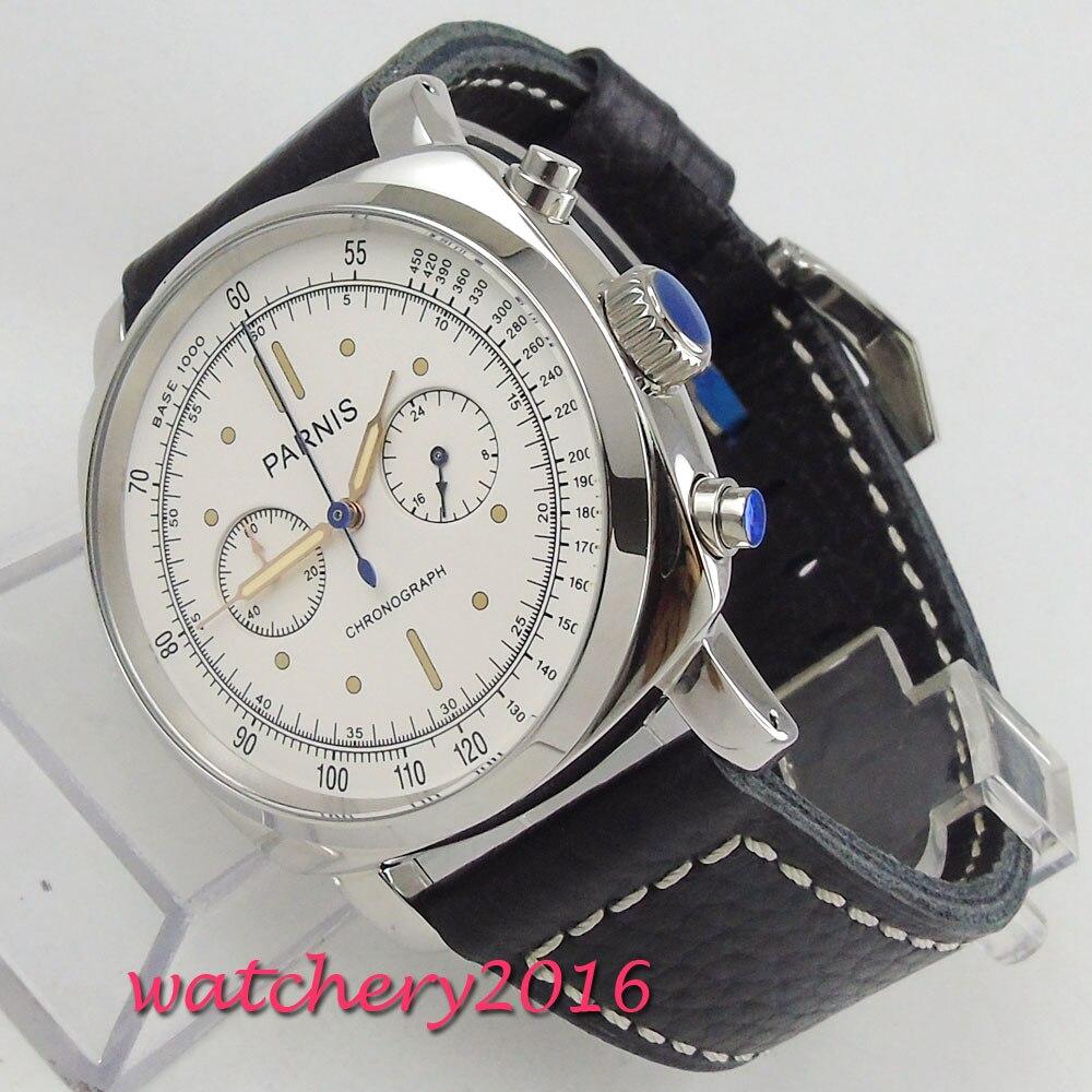 44mm parnis cadran blanc cristal chronographe 2018 marque de luxe montre montres militaires hommes en mouvement à Quartz montres mécaniques