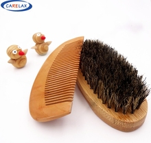 Comb&Shaving brush Set Beard Brush For Men Bamboo With 100%Boar Bristles Face Massage That Works Wonders To Comb Beards&Mustache