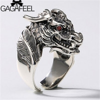 GAGAFEEL Red Zircon 925 Sterling Silver Dragon Ring Animal Rings for Men Male Punk Thai Silver Jewelry