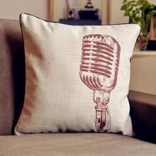 Vintage Retro micrófono cojín funda de lino almohada cojín para Coche Oficina hogar Decoración sofá cojines 1 Uds almohadas 45*45cm