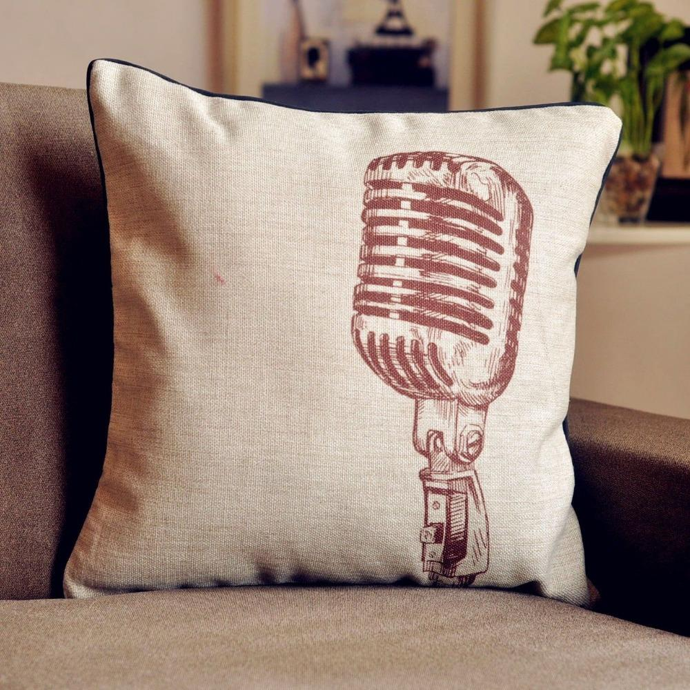 Retro Cushions Us 10 49 30 Off Vintage Retro Microphone Cushion Cover Linen Pillow Cushion For Car Office Home Decor Sofa Cushions 1pcs Pillows 45 45cm In Cushion