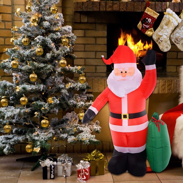 goplus 24m8 ft outdoor christmas decoration airblown inflatable led light xmas santa claus - Led Lighted Christmas Decorations
