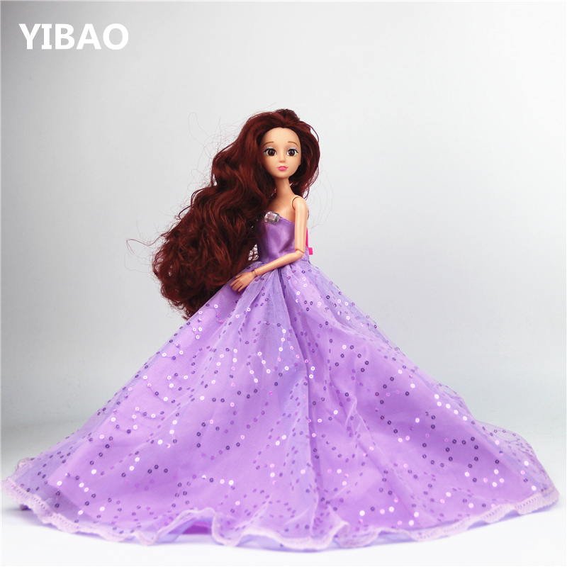Retail BIG 42x34cm Wedding dress fashion Princess dolls Wedding suits Girls  Toys Birthday Gifts 12 Joint 4289e531394e