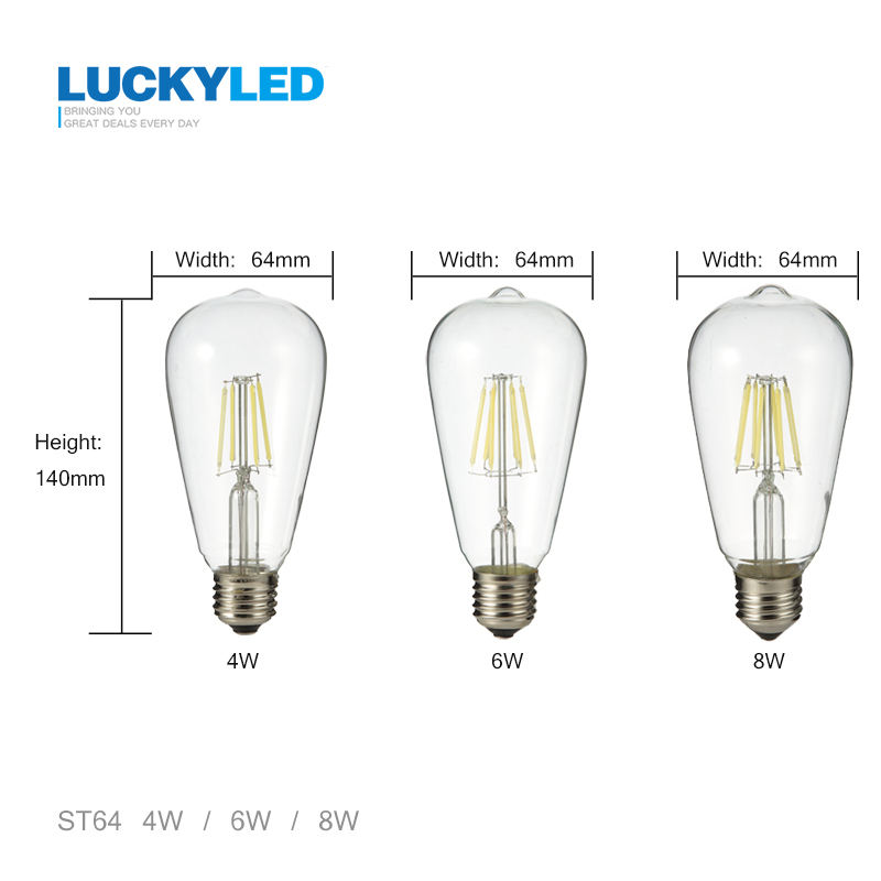 Free shipping Vintage Edison led bulb E27 4W 6W 8W AC220V / 110V transparent clear Glass shell Retro LED Filament light ST64