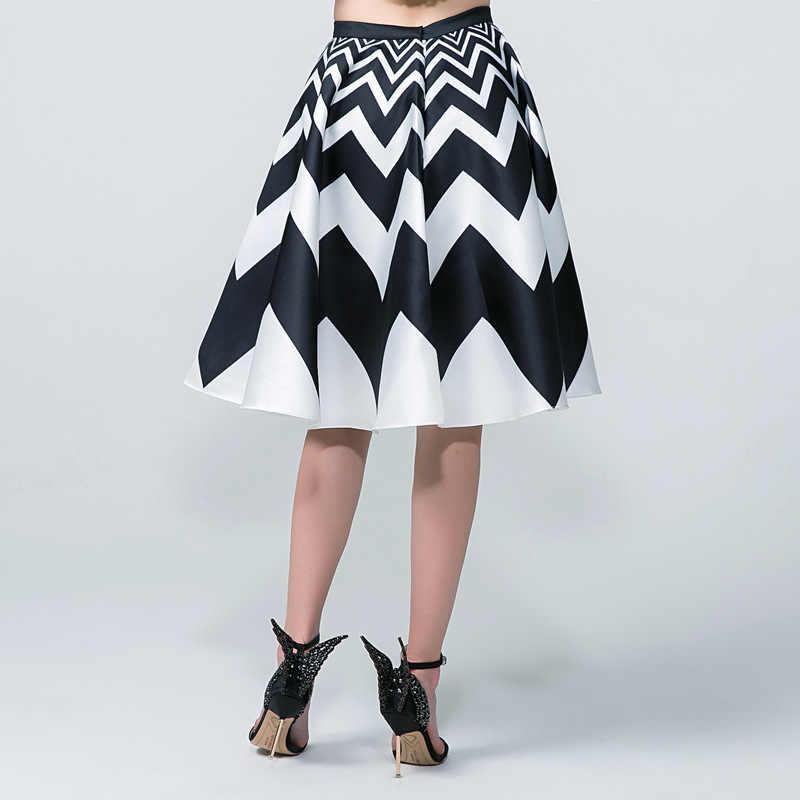 ブラック&ホワイト波縞模様のスカートエレガントなハイウエスト夏春スイング60 sヴィンテージレトロなミディaラインスカート段faldas韓国b1178