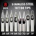 8 PC STAINLESS STEEL TATTOO TIPS SET FOR Tattoo GRIP & Tattoo MACHINE 3R 5R 7R 9R 5D 7D 5F 7F