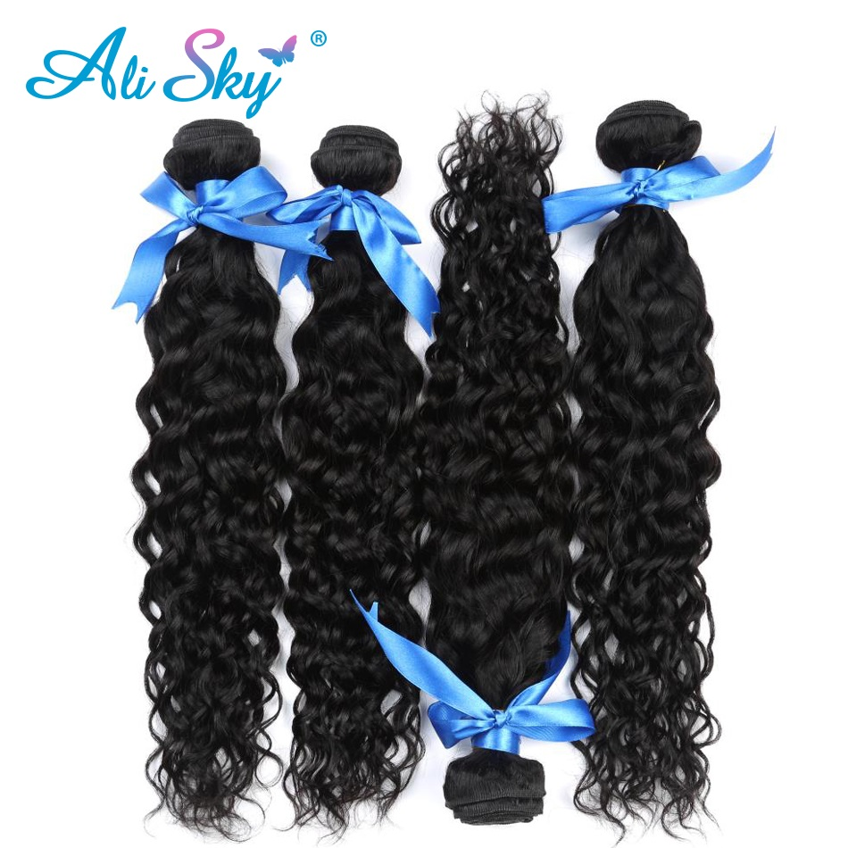 Brazilian Water Wave 4pcs/lot 100% Ali Sky human hair bundles deal no tangle no shedding non remy freeshipping more wavy ...