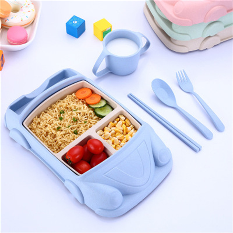 Ideacherry Baby Dinnerware Set Children Plate Tray Mat 6Pcs/Set Creative Bamboo Fiber Kid Feeding Spoon Fork Bowl Divided Dishes