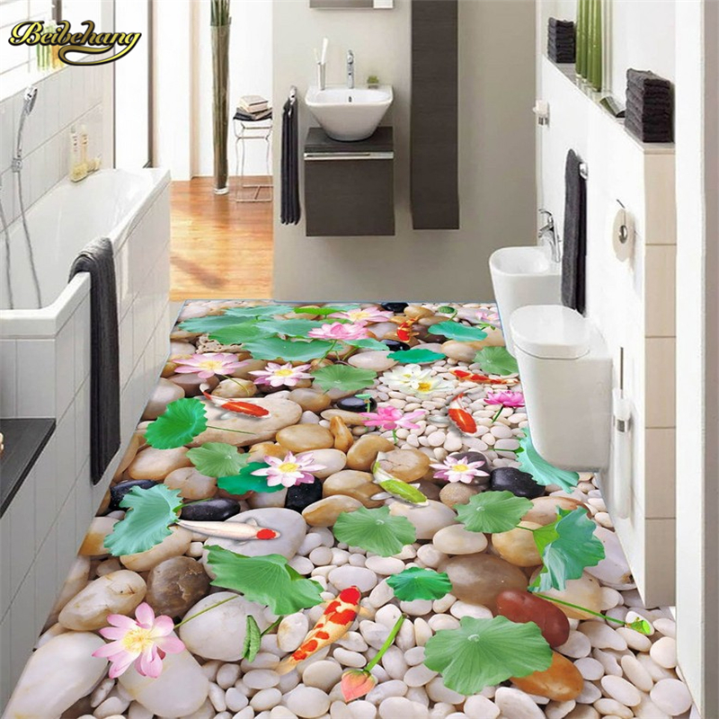 beibehang Pebble lotus leaf papel de parede 3D 3d floor painting mural wallpaper for walls 3 d flooring contact paper wall paper  beibehang shells pigeons papel de parede 3d flooring wallpaper for walls 3 d pvc self adhesive wallpaper floor tiles wall paper