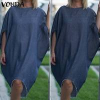 VONDA Summer Women's Loose Denim Dress O-neck Jeans Shirt Short Sleeve Dresses Fashion Casual Plus Size Knee-length Soft Vestido