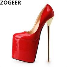 プラスサイズ48プラットフォーム22 18cmエクストリームハイヒール女性パンプス黒レッドラウンドトゥハイヒールのセクシーなナイトクラブイブニングパーティーフェチの靴
