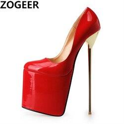 Zapatos de tacón alto de talla grande para mujer, tacones extremos de 22cm con plataforma, puntera redonda negra y roja, Sexy, para club nocturno, fiesta, fetiche