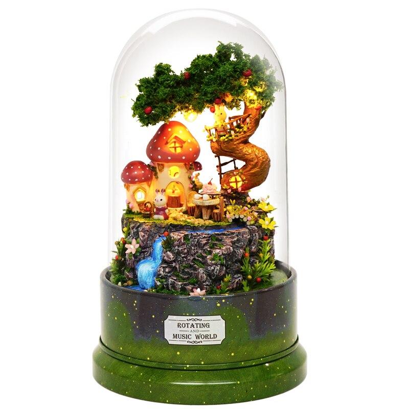 CARINO CAMERA Nuovo In Miniatura Casa Delle Bambole FAI DA TE Casa Delle Bambole con Mobili di Music Box Agitarsi Giocattoli di Legno per I Bambini I Bambini Regalo Di Compleanno B029