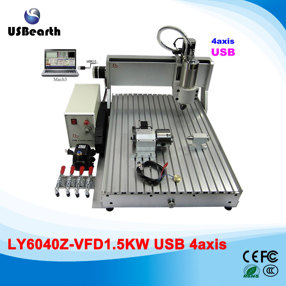 USB cnc machinery 4 axes 6040 engrave cutting machine 1500w cnc spindle for metal wood PCB acrylic , Russia country free duty 110 220v 1500w 4 axis metal milling machine cnc 6040 with limit switch for metal wood cutting