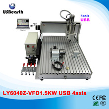 USB cnc machinery 4 axes 6040 engrave cutting machine 1500w cnc spindle for metal wood PCB acrylic , EU country free duty