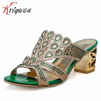 Large Size 32 44 Hot Green Gold Luxury Crystal Slides Women Classic Party Dating Rhinestone Shoes