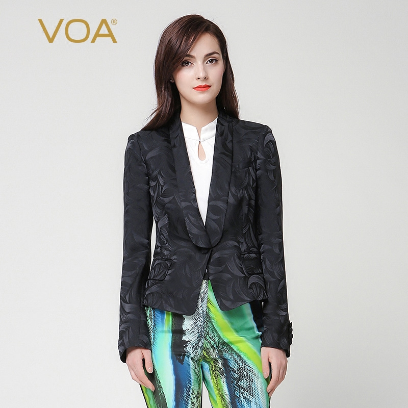 VOA 2018 Spring Autumn Long Sleeve Silk Jacquard Black Suit Plus Size Single Button Pocket Brief Slim Office Women Tops W7256