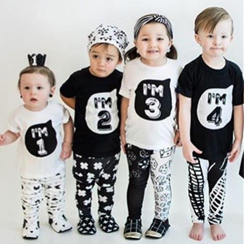 Kids T-Shirts Tops Birthday-Party Girls Baby Boys Tees Short-Sleeve Cotton Children Summer