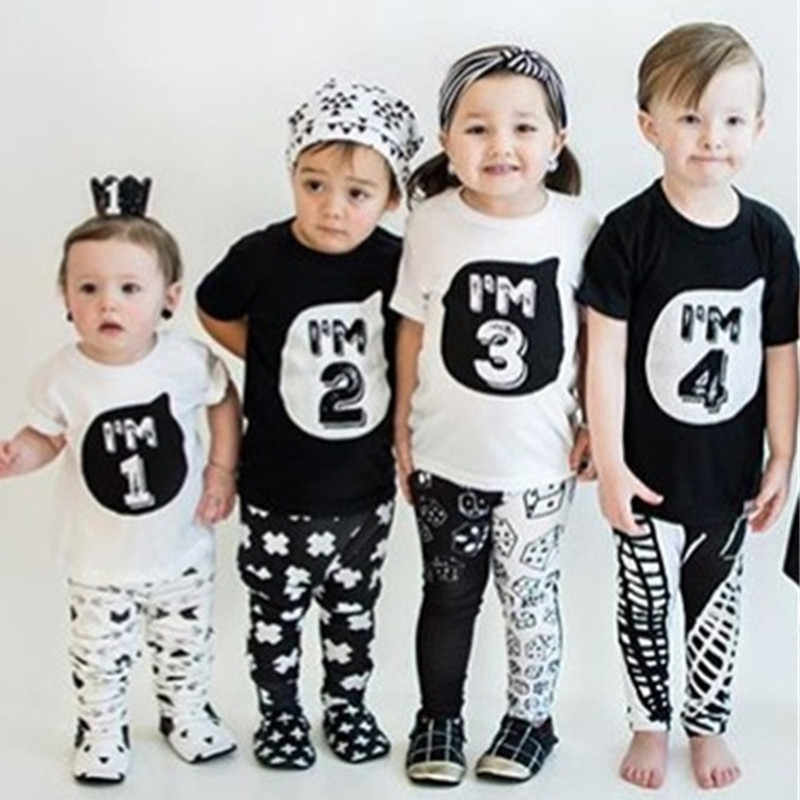 Kids T Shirts 2019 Summer Boys Girls 1 2 3 4 Years Birthday Party Short Sleeve T Shirts Baby Children Cotton Tops Tees Clothes