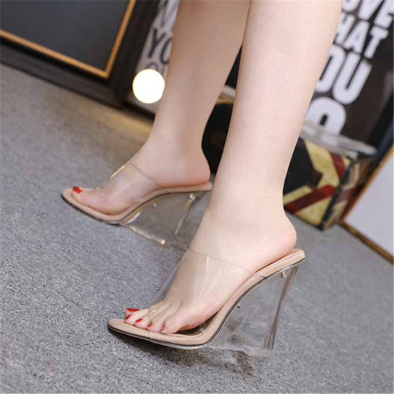 Clear Heel Women Sandals High Heels Fashion Wedge Sanals Women Summer Shoes Casual Transparent Shoes