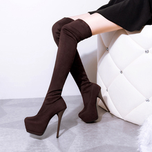 2016 New  Fashion Sexy High-heeled Boots Pointed Toe Over the Knee Boots Stretch  High Heels Woman Shoes