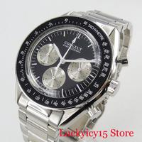 Quartz Men's Watch Round Case With Chronograph Hands 40mm Wristwatch SS Strap
