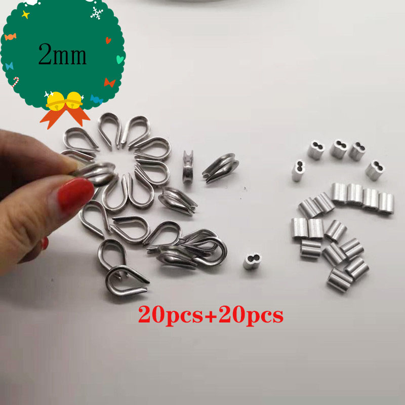 20pcs Diameter 2mm Sleeves Aluminium Oval Double Hole And Thimble Rope For Crimping Wire Rope