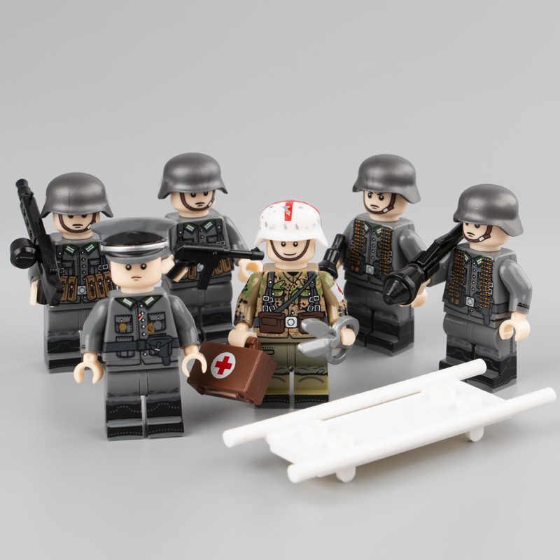 6 шт Weltkrieg 2 Пособия по немецкому языку медик Запчасти солдаты оружие рисунок аксессуары строительные блоки игрушка для детей LegoINGlys Военная игрушка
