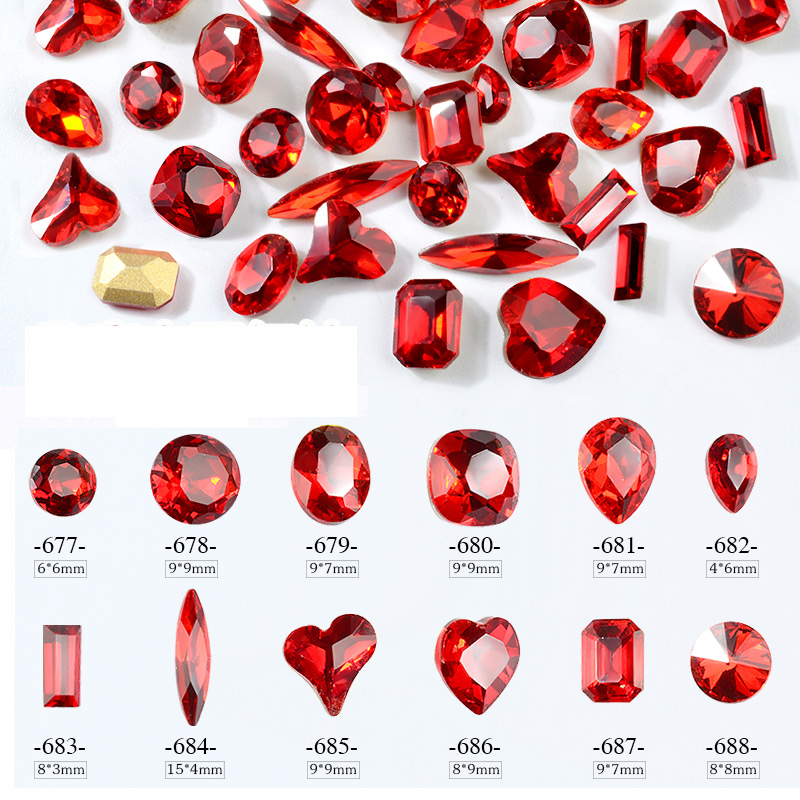 10pcs/pack China Red Crystal Nail Art Rhinestones Shiny 3D Sharp Bottom Water Drop Heart Design Jewelry DIY Glitter Decorations wakefulness ab color glass rhinestones crystal mix caviar nail art mini beads sharp bottom gemstones charms 3d nail decorations