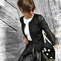 Nova Moda Primavera 2017 Outono Mulheres Curto Casacos Casaco Manga Comprida Básica Mulher Jaqueta PU Casaco de Couro Com Zíper Patchwork Outwear