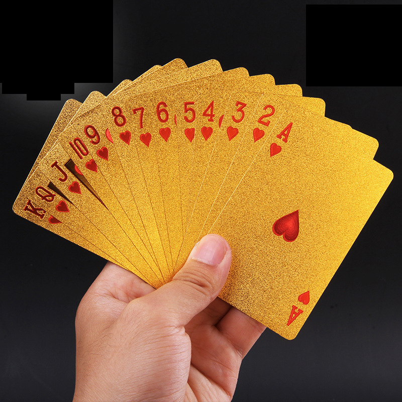 Classic toys Golden Playing Cards Deck gold foil poker set Magic card 24K Gold Plastic foil poker Durable Waterproof Cards