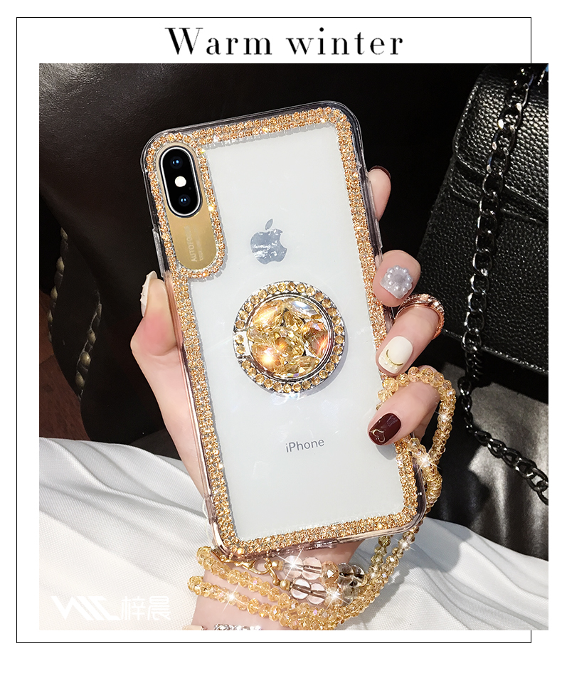 Luxury Bling Glitter With Finger Ring Case For iPhone X 8 7 6 6S Plus XR XS 11 Pro Max Cover Fashion Diamond Soft TPU Phone Case