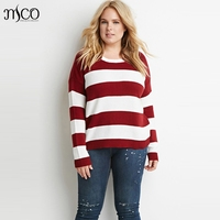 European Plus Size Stripe Jumper Basic Oversize Pullover Ultimate Easy Women Pullovers 5XL 6XL Casual Sweater Winter Basic Tops