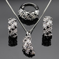 White Black Cubic Zirconia Silver Color Jewelry Sets Necklace Pendant Earrings Rings For Women Christmas Free Gift Box