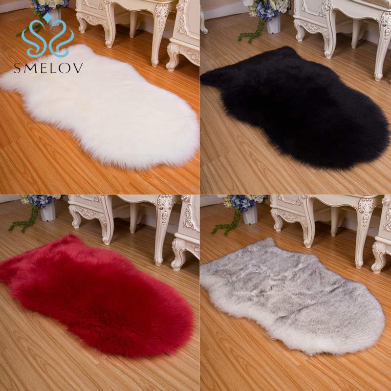 Faux Sheepskin Rug pure wool Chair Sofa Cover Mat long Anti-Slip fur cashmere Carpet for Bedroom living room kid Home Decoration