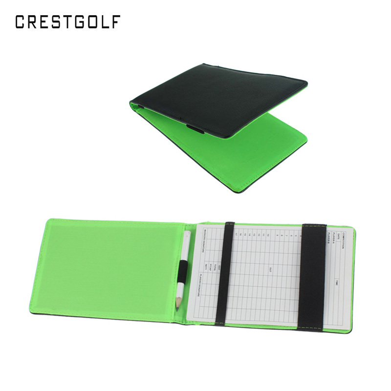 CRESTGOLF PU Leather Golf Score Card Holder As Golf Gifts Golf Accessories