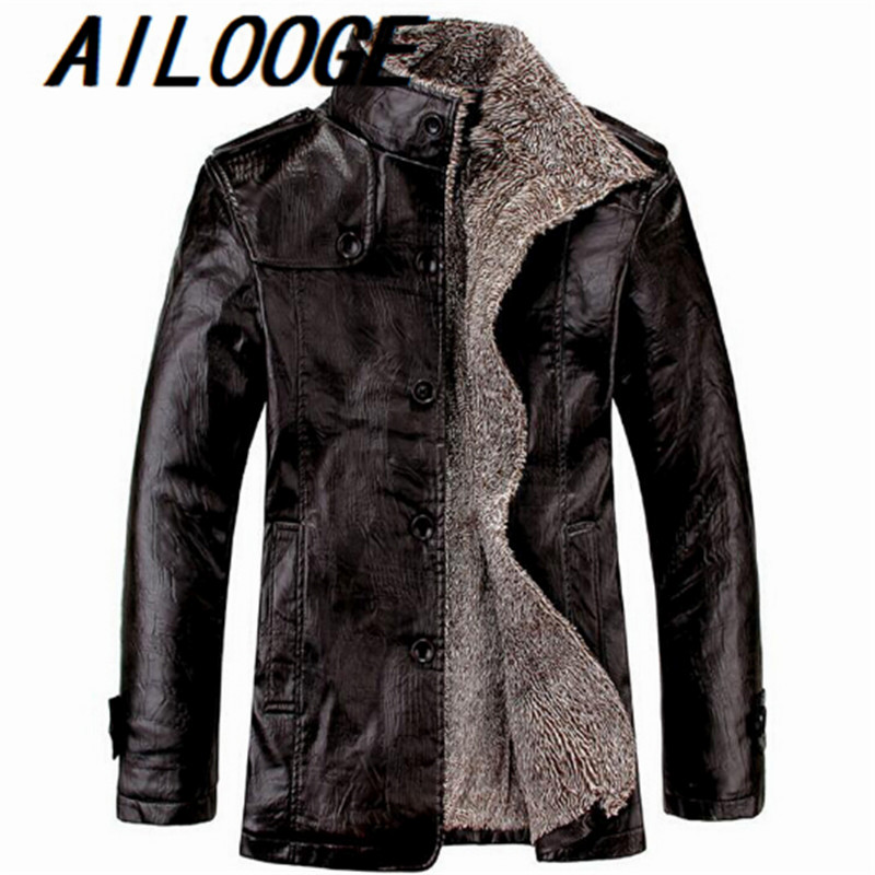 Fashion Men Fur Leather Jacket Winter Style 4XL Leather Suede Coat Male Cool Fur Bomber Jacket Leather Windbreaker For Men