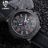 LIEBIG Brand Men Quartz Wristwatches Military Sports Watch Luxury Leather Strap 50M Waterproof Clock Relogio Masculino
