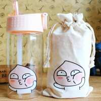 ONEISALL 300ML Mini Glass Straw Cup Leak Poof Ring Student Kid Straw Water Bottle Cartoon Cute