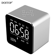 DOITOP Portable LCD Display Mini Metal Bluetooth Stereo Alarm Clock Speaker Subwoofer Music Player Loudspeaker Support TF Card