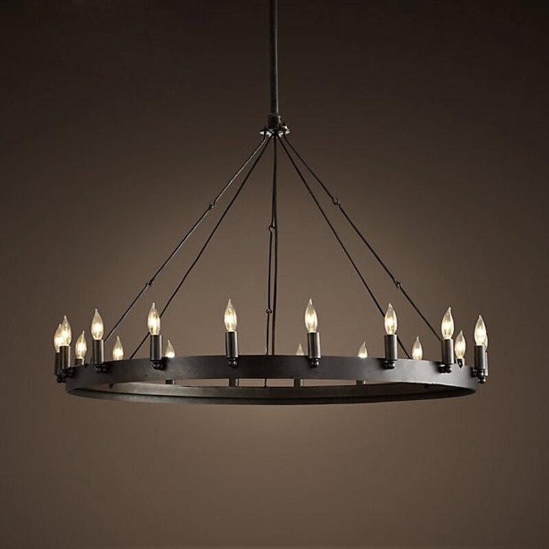 Loft Amerikanischen Retro Eisen Anhänger Lampe Jahrgang Industrielle E14 LED Drop Runde Cafe Restaurant Bar Ritter Kerze Kronleuchter